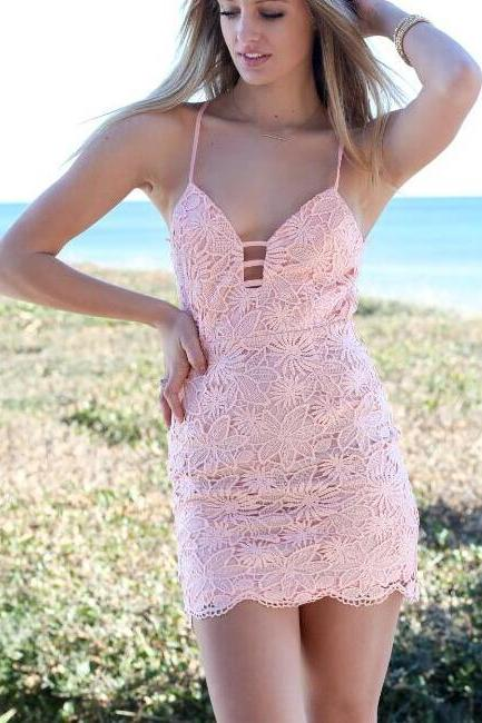 FREE SHIPPING 2016 New Women's Sexy Pink Cut Out Back Lace Dress