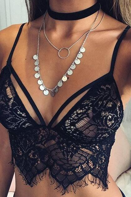 Free Shipping New Summer Fashion Women's Sexy Black White Lace Eyelash Bralette Top