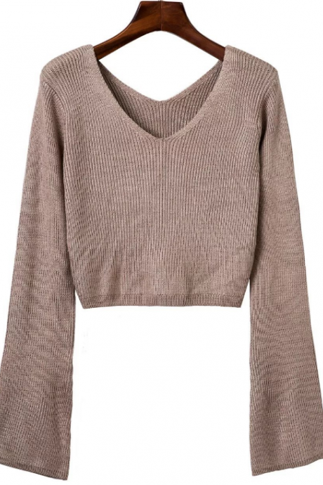 Knitted Plunge V Long Flared Sleeves Cropped Sweater