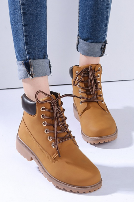 FAST SHIPPING Fall/ Winter 2016 Fashion Women Lace Up Martin Boots Ankle Booties In Tan