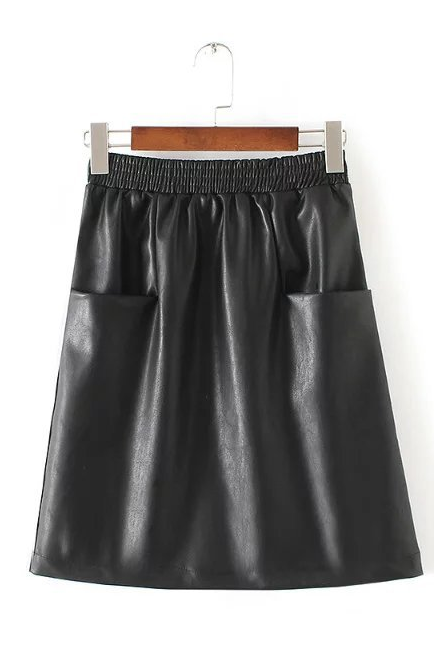 Black Faux Leather Elasticised Short A-Line Skirt featuring Pockets
