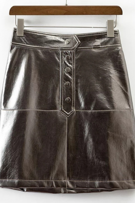 Metallic A-line Mini Skirt with Front Buttons