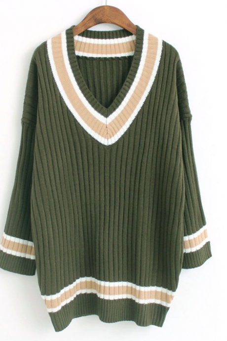 Fall Winter Fashion Women V-neck Long Knitted Jumper Sweater