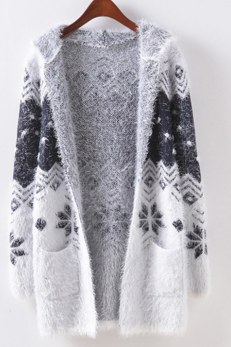 FREE SHIPPING New Fall/Winter Women Grey Snow Flower Plush Cardigan With Hood Outwear