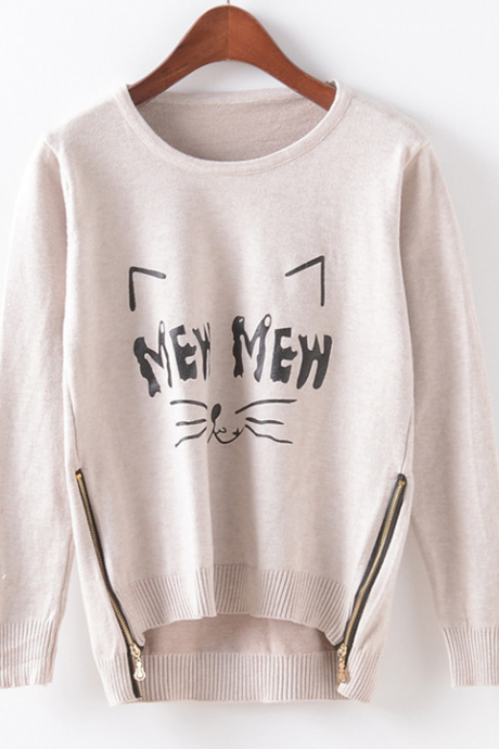 Fall Winter Fashion Women Cute Cat Mew Zipper Hem Sweater In Beige