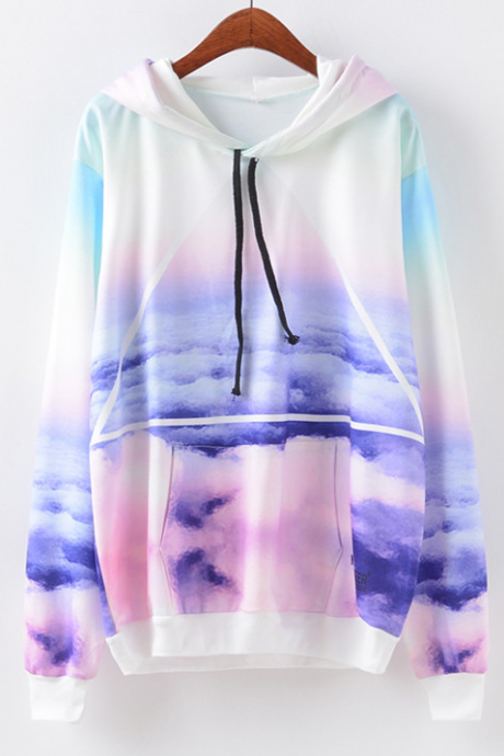 Harajuku Fashion Pastel Color Galaxy Pocket Front Hoodie Sweater- Fall Fashion