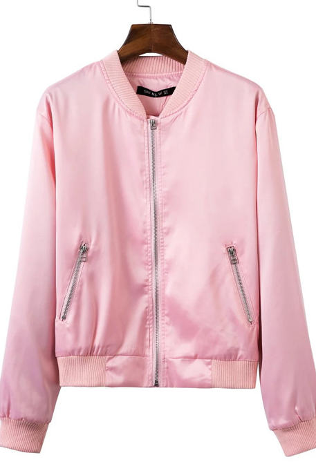 New Fall/Winter Women Black/Pink/Brown Zipper Up Bomber Jacket Casual Baseball Jacket Coat