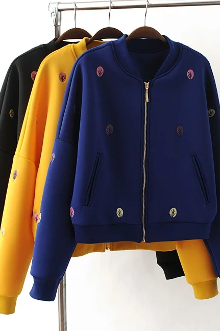 New Fall/Winter Women Black/Blue/Yellow Zipper Up Embroidery Bomber Jacket Casual Baseball Jacket Coat