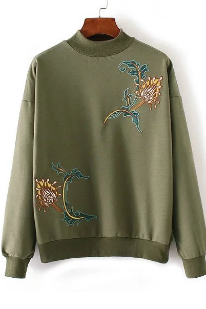 Vintage High Neck Floral Embroidery Sweater- Fall Winter Fashion