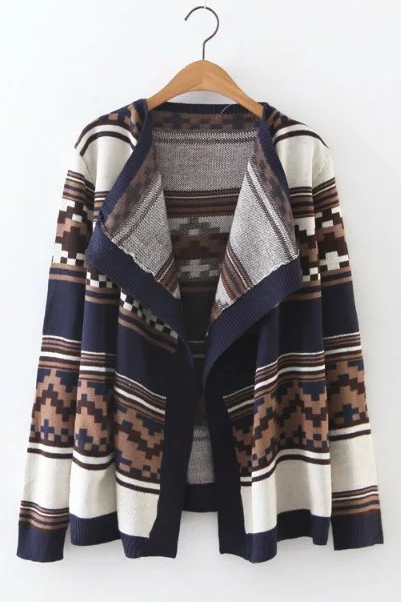 New Fall/Winter Women Mosaic Pattern Striped Lapel Cardigan Outwear