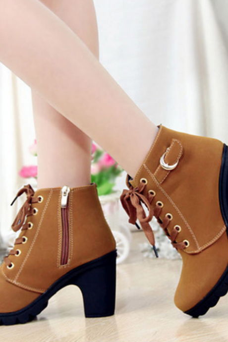 FAST SHIPPING Fall/ Winter 2016 Fashion Women BrownLace Up High Heel Martin Boots Ankle Booties