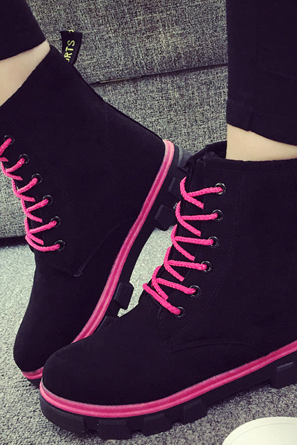 FAST SHIPPING Fall/ Winter 2016 Fashion Women Lace Up Fleece Martin Boots Ankle Booties