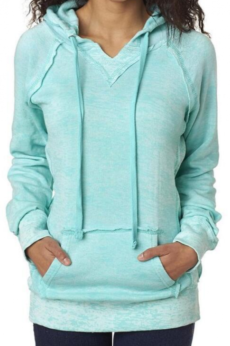Fall Winter Fashion Blue Pocket Front Hoodie Sweatshirt Sweater