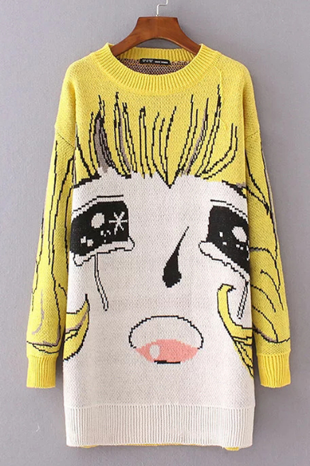 Fall Winter Harajuku Fashion Yellow Sailor Moon Pattern Jumper Knitted Sweater
