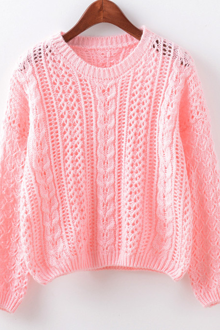 Fall Winter Women Fashion Blue/Pink/White/Grey Round Neck Hollow Knitted Sweather