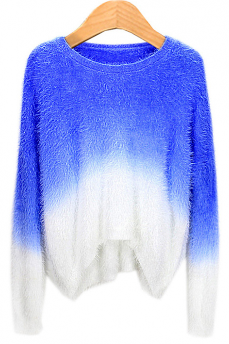 Fall Winter Women Fashion Loose Candy Color Gradient Mohair Sweater