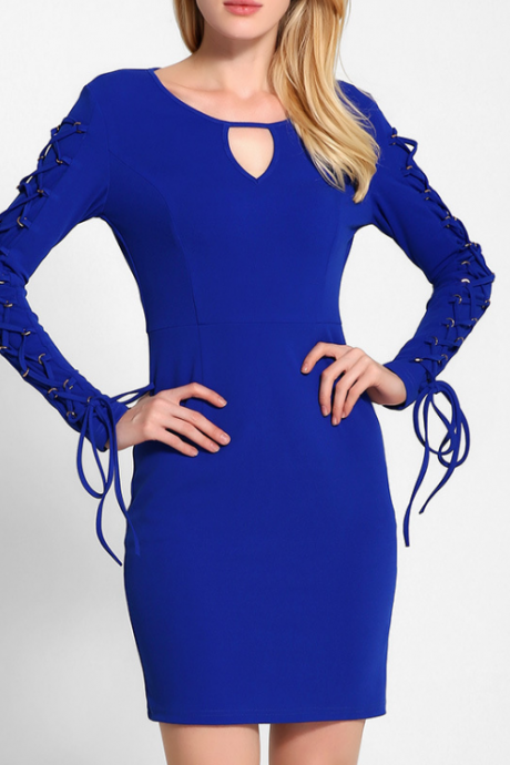 FAST SHIPPING Blue Sexy Women Slim Cut Out Bandage Long Sleeve Dress