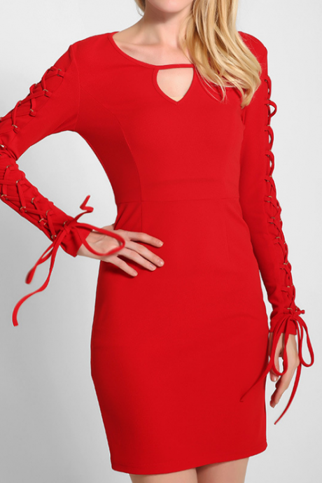 FAST SHIPPING Red Sexy Women Slim Cut Out Bandage Long Sleeve Dress