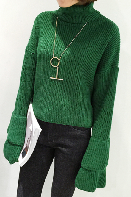 Fall Winter Harajuku Fashion White Green Turtleneck Bell Sleeve Knit Sweater