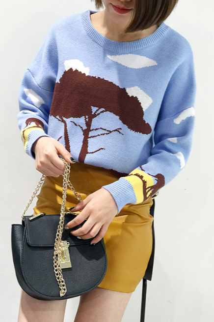 Fall Winter Harajuku Retro Blue Cartoon Pattern Knit Sweater