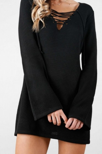 Black Casual Long Sleeve V - Neck Lace Up Knit Dress