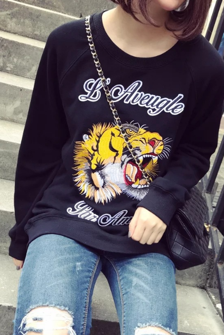 Fall Winter Harajuku Fashion Loose O-neck Tiger Embroidered Fleece Sweater Jumper