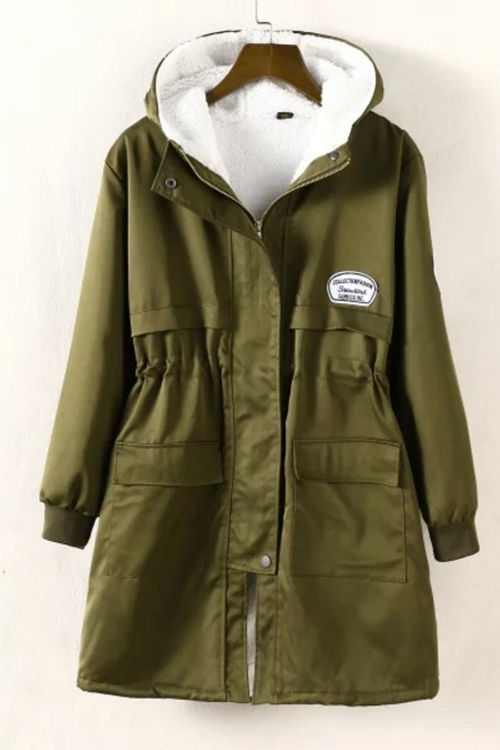 New Fall/Winter Women Zipper Embellished Fleece Inside Military Coat Hooded Outerwear Plus Size