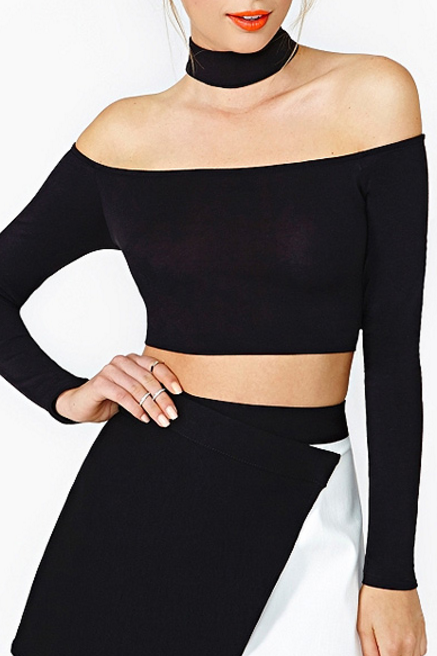 Free Shipping Sexy Fashion Black Off The Shoulder Long Sleeve Top Women Halter Top Casual