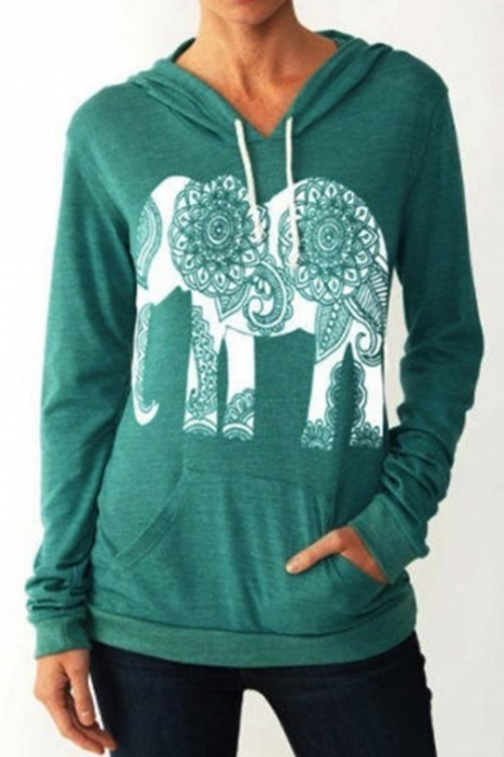 Ethnic Elephant Print Hoodie Long Sleeve Sweatshirt Sweater Boho Street Fashion Woman Top