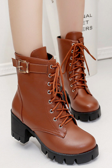 New Fashion Women PU Leather Lace Up Boots Abkle Martin Boots Black Brown