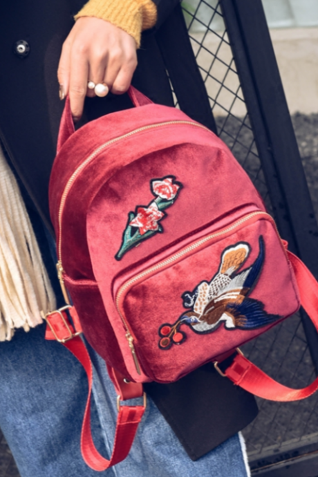New Women Fashion Trendy Vintage Flower Bird Embroidered Velvet Mini Backpack Travel Bag Shoulder Black Burgundy Bag Handbag