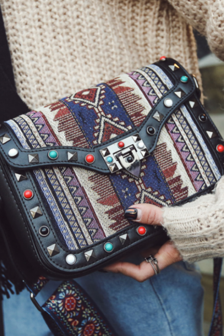 New Women Fashion Trendy Vintage Ethnic Flower Embroidered Tote Bag Tribal Pattern Shoulder Bag Crossbody Bag Handbag