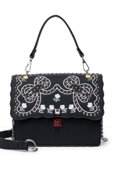Bowknot Floral Embroidered Chained Shoulder Bag with Rivet Detailing