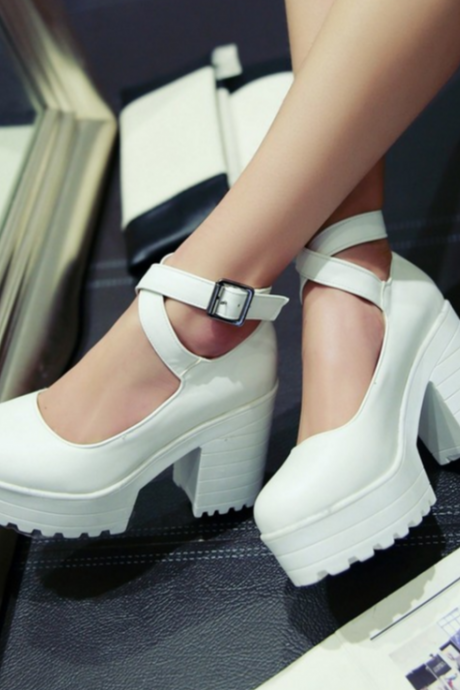 New JK Fashion Criss-cross Bandage High Heel Shoes Lolita Cosplay Shoes Platform Pump