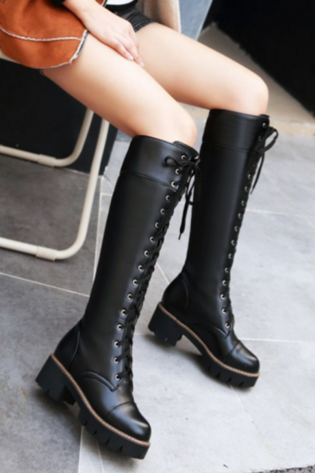 New Fashion Lace Up Knee High Boots Black White Martin Tight High Boots