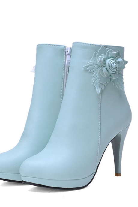 New Fashion Sweet Flower Zipper Side High Heel Shoes Women Heeled Booties Platform Pump Shoes