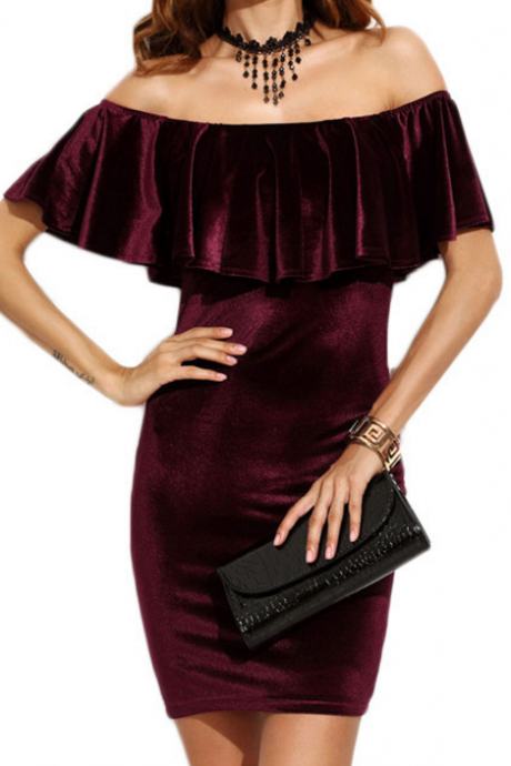 New Fashion Vintage Velvet Off The Shoulder Party Dress Women Ruffle Dress