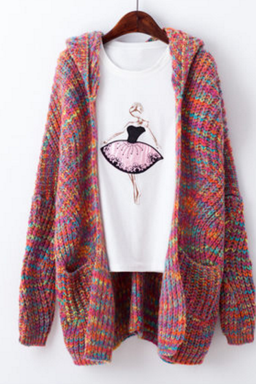 Mixed Coloured Knitted Open Front Cardigan Sweater