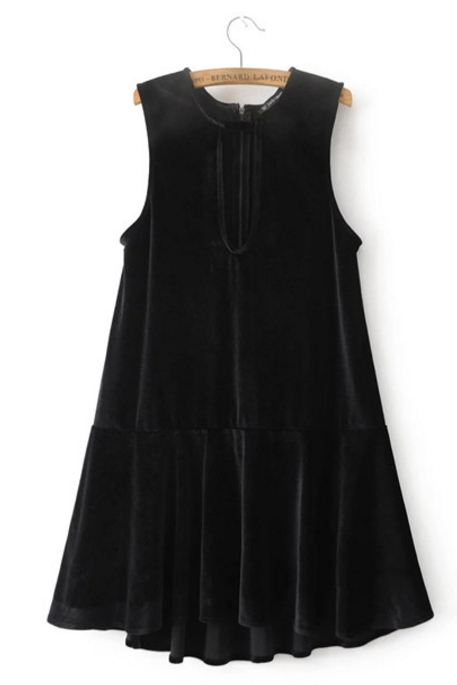 Sleeveless Velvet Keyhole Drop-waist Dress with Ruffle Hem