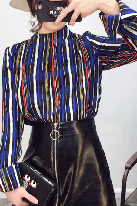 Multicolour Stripes Chiffon Mock Neck Long Sleeves Blouse
