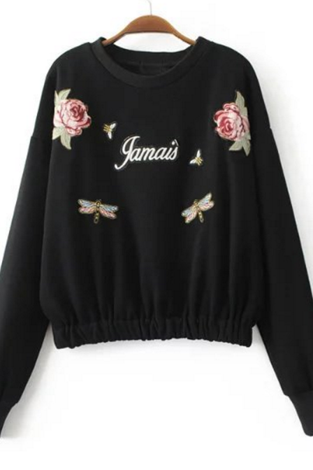 Round Neck Floral Embroidered Long Sleeved Pullover Sweatshirt