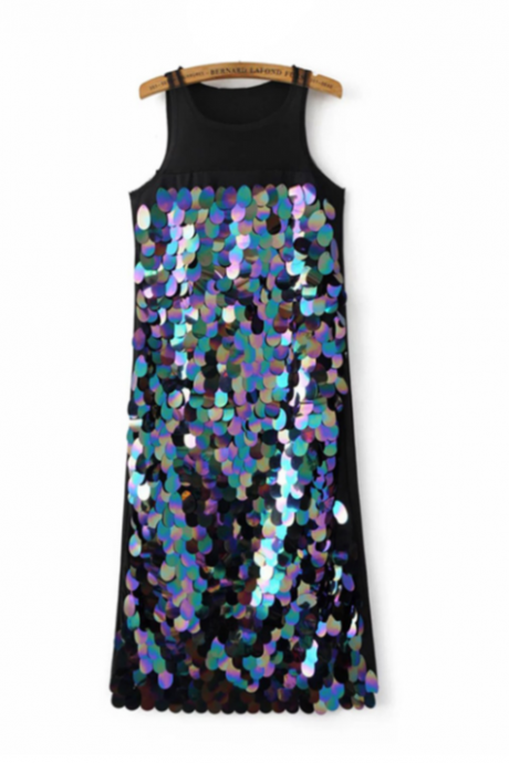 Sleeveless Iridescent Sequin Party Dress with Sheer Neckline