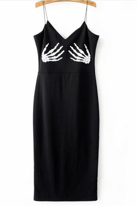 New Fashion Skull Printed Strappy Dress Women Sexy Bodycon Evening Dress
