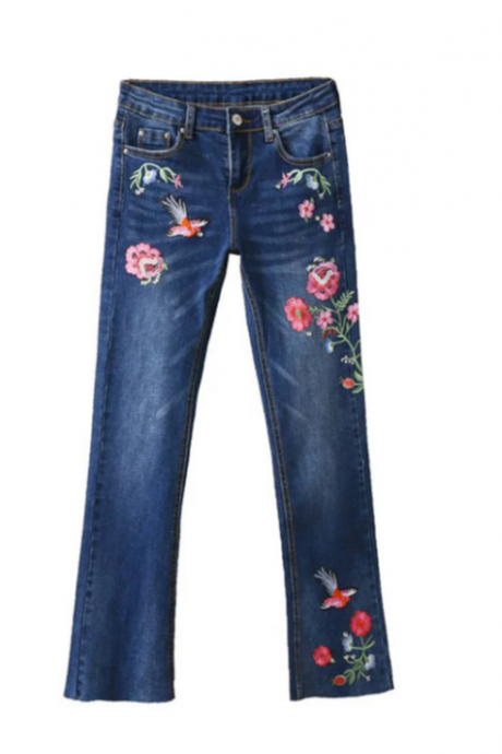 Flare Leg Jeans Featuring Floral and Bird Embroidery