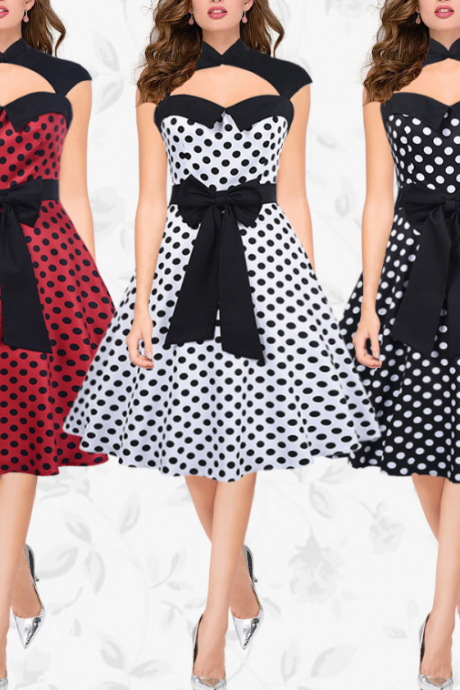 New Fashion Vintage Polka Dots Printed Dress Women Sleeveless Bow Waisted Dress White Black Red