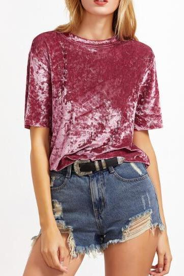 Mauve Pink Crushed Velvet T-Shirt Featuring Crew Neck
