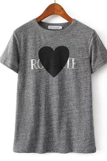 Heart Printed Graphic Round Neck T-shirt Women - Black Grey