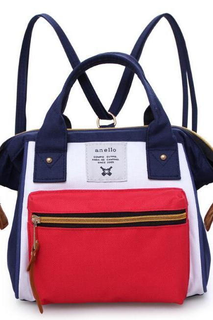 Fashion Color Block Multifunction Bag Handbag Tote Bag Canvas Travel Backpack