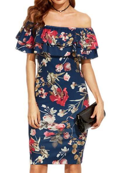 Blue Floral Print Ruffled Off-The-Shoulder Knee Length Bodycon Dress