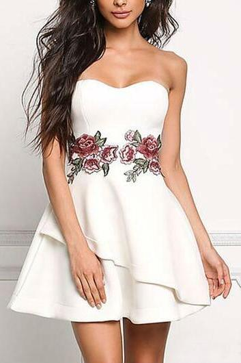 White Floral Embroidered Dress Sexy Women Fit and Flare Party Dress